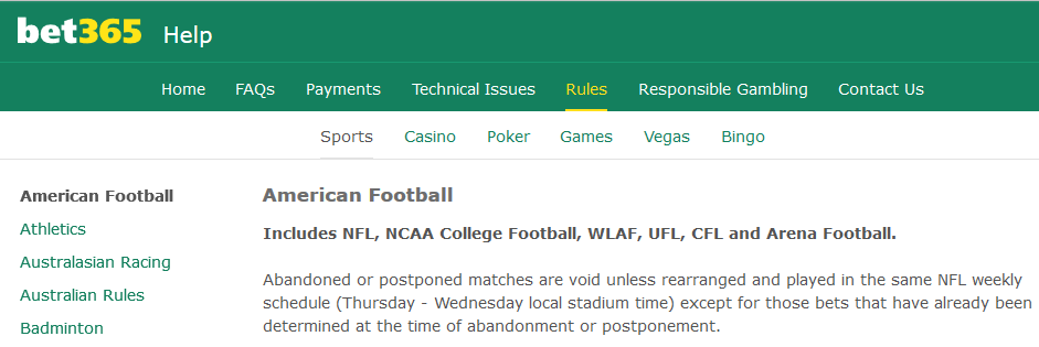 Bet365 Abandoned NFL Match Rules