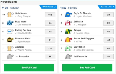 Betfred Horse Racing Markets