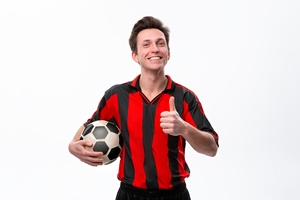Smiling Holding Football