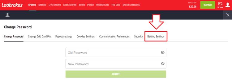 Ladbrokes Password Screen