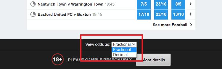 Betfair Fixed Odds Format Options